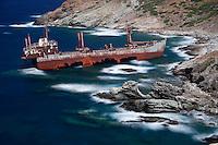The shipwreck near Vori in Andros island, Greece