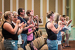 """Students and parents participate in the """"O-H-I-O!"""" cheer during Bobcat Student Orientation on Thursday, June 4, 2015.  Photo by Ohio University  /  Rob Hardin"""