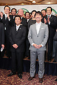 "November 27, 2011, Osaka, Japan - Toru Hashimoto, front right, the leader of the political group ""One Osaka (Osaka Ishin no Kai),"" celebrates during a news conference in Osaka, western Japan, on Sunday, November 27, 2011, after he won the mayoral election in Osaka. Osaka held unprecedented mayoral and gubernatorial double elections today that will likely determine the future of the country's second-biggest city. (Photo by Akihiro Sugimoto/AFLO) [1080] -ty-"