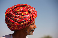 Rajasthani farmer with traditional Rajasthani turban at Nimaj, Rajasthan, Northern India