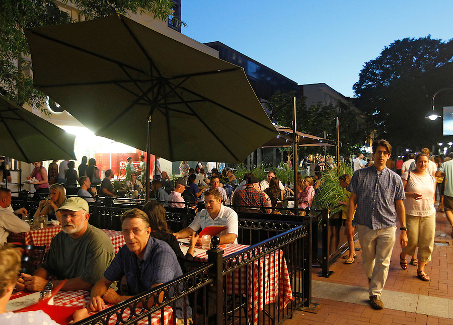 The outdoor restaurant and bar located on the Downtown Mall in Charlottesville, VA.  Photo/Andrew Shurtleff
