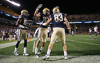PITTSBURGH, PA - NOVEMBER 05:  Hubie Graham #83 of the Pittsburgh Panthers celebrates with teammates after scoring a touchdwon in the second half against the Cincinnati Bearcats on November 5, 2011 at Heinz Field in Pittsburgh, Pennsylvania.  (Photo by Jared Wickerham/Getty Images)