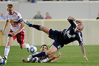 Rafa Marquez (4) of the New York Red Bulls fouls Eric Hassli (29) of the Vancouver Whitecaps earning a yellow card during a Major League Soccer (MLS) match at Red Bull Arena in Harrison, NJ, on September 10, 2011.