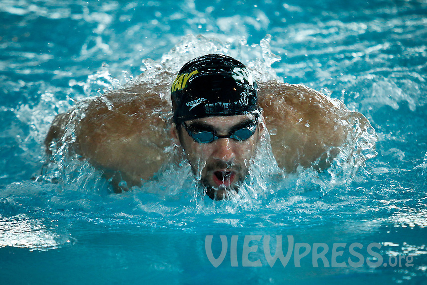 """Olympic medalist Michael Phelps attends a event called """"Official Training Restaurant of the Phelps Family"""" to support his sister Whitney as she runs the ING New York City Marathon on November 4.  the event was organized by the food company """"Subway"""" in New York, United States. 15/10/2012. Photo by VIEWpress."""