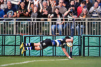 Jeff Williams of Bath Rugby dives for the try-line. West Country Challenge Cup match, between Bath Rugby and Gloucester Rugby on September 26, 2015 at the Recreation Ground in Bath, England. Photo by: Patrick Khachfe / Onside Images