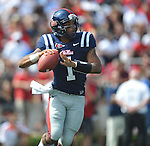 Ole Miss quarterback Randall Mackey (1) passes against Georgia at Vaught-Hemingway Stadium in Oxford, Miss. on Saturday, September 24, 2011. Georgia won 27-13.
