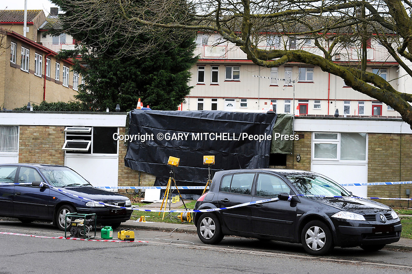 Hemel Hempstead, Herts, UK - Fire at No 9 Westerdale, Highfield, Hemel Hempstead, Herts. Fatality at Old Peoples' Flats being investigated by Police. - March 2nd 2013<br />