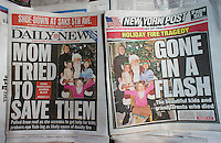 Copies of the fiercely competitive New York Daily News and the New York Post use the same copy photo on the front page of their Tuesday, December 27, 2011 editions. The papers were reporting on the tragic fire in Stamford CT at the home of Madonna Badger in which her parents and three children perished. (© Richard B. Levine)