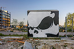 A graffiti covered shed in vacant lot in Copenhagen Denmark