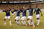 Colombian players celebrates the goal of Juan Cuadrado (2R) against Brazil, during their friendly match at MetLife Stadium in East Rutherford New Jersey, November 14, 2012. Photo by Eduardo Munoz Alvarez / VIEWpress.