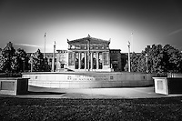 Chicago Field Museum in black and white. The Field Museum of Natural History is located in Museum Campus along Lake Shore Drive and Lake Michigan in Chicago and is a popular attraction.