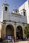 Travel stock photo of St. Catherine's catholic church in Cyprus Limassol - El Shaddai 14th anniversary Holy mass Spring 2007 Vertical