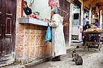 Cats wait in front of a butcher, while a man buys meat, in the medina of Fés, Morocco.