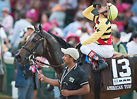 Silver Max, with Rafael Bejarano up, wins the American Turf Stakes on Kentucky Oaks Day at Churchill Downs in Louisville, Kentucky on May 4, 2012.