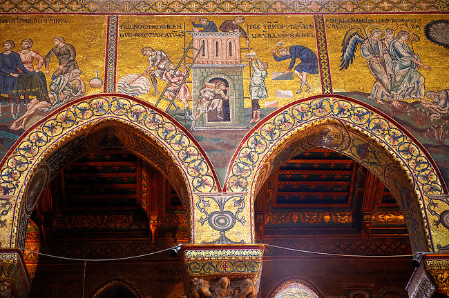 Byzantine mosaics depicting scenes from the Bible of the building o the Tower of Babel in the Cathedral of Monreale - Palermo - Sicily Pictures, photos, images &amp; fotos photography