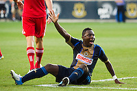 Freddy Adu (11) of the Philadelphia Union looks for a foul call. The Chicago Fire defeated the Philadelphia Union 3-1 during a Major League Soccer (MLS) match at PPL Park in Chester, PA, on August 12, 2012.