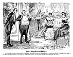"""Our John-Bullionaires. Sir Clondyke Croesus (to distinguished Frenchman, who, with his wife, has been asked to a quiet family dinner). """"Ah, Mossoo, there's one thing we pride ourselves on, that you Foreigners 'aven't got, and that is the simple English 'ome life!"""""""