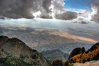 View of Albuquerque from Sandia Crest New Mexico as a storm is rolling in