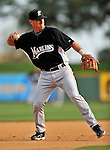 13 March 2008: Florida Marlins' infielder Jason Wood warms up prior to a Spring Training game against the Washington Nationals at Space Coast Stadium, in Viera, Florida. The Marlins defeated the Nationals 2-1 in the Grapefruit League matchup...Mandatory Photo Credit: Ed Wolfstein Photo