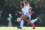 20 November 2016: North Carolina's Maya Worth (5) and Clemson's Sam Staab (behind). The University of North Carolina Tar Heels played the Clemson University Tigers at Fetzer Field in Chapel Hill, North Carolina in a 2016 NCAA Division I Women's Soccer Tournament Third Round match. UNC won the game 1-0.