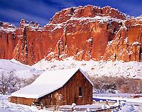 Fruita Barn in Heavy Snow, Capital Reef National Park, Utah