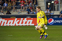 Philadelphia Union goalkeeper Zac MacMath (18) readies to face a shot. The Chicago Fire defeated the Philadelphia Union 3-1 during a Major League Soccer (MLS) match at PPL Park in Chester, PA, on August 12, 2012.