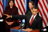 Chicago, IL - December 19, 2008 -- United States President-elect Barack Obama, right, holds a press conference to announce his nomination of United States Representative Hilda Solis (Democrat of California) as Secretary of Labor, left, and venture capitalist Karen Mills as Administrator, United States Small Business Administration (SBA), center, Friday afternoon, December 19, 2008 at the Drake Hotel in Chicago, Illinois.  Obama also nominated United States Representative Ray LaHood (Republican of Illinois) to be Secretary of Transportation; and former Dallas Mayor Ron Kirk, to be U.S. Trade Representative (USTR)..Credit: Anne Ryan - Pool via CNP