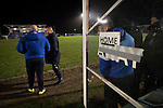 Bishop Auckland 3 West Auckland Town 1, 22/01/2016. Heritage Park, Northern League Division One. The home team manager and substitutes watching the action as Bishop Auckland take on West Auckland Town in a Northern League division one match at Heritage Park. Bishop Auckland were winners of the Amateur Cup 10 times between 1895 and 1957 whilst their opponents won the Sir Thomas Lipton Trophy, regarded as the first world club tournament, in 1909 and 1911.  Bishop Auckland won this fixture 3-1, watched by a crowd of 422 at the ground they moved into in 2010. Photo by Colin McPherson.