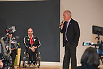 Whitby Mayor Don Mitchell speaks to students ftom the West Lynde Public School during Paralympic Schools Week at the Abilities Centre in Whitby Ontario April 26, 2017.