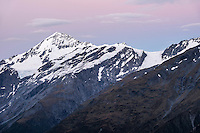 Dawn over Mt. Aspiring, Tititea, Mt. Aspiring National Park, World Heritage Area, Central Otago, New Zealand