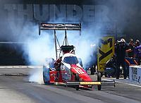 Jun 18, 2016; Bristol, TN, USA; NHRA top fuel driver Shawn Langdon during qualifying for the Thunder Valley Nationals at Bristol Dragway. Mandatory Credit: Mark J. Rebilas-USA TODAY Sports
