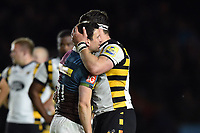 Guy Thompson of Wasps embraces Karl Dickson of Harlequins after the final whistle. Aviva Premiership match, between Harlequins and Wasps on April 28, 2017 at the Twickenham Stoop in London, England. Photo by: Patrick Khachfe / JMP
