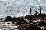 Besides dairy and agriculture, fishing is one of the main occupations on Terceira, Azores. Fisherman try to catch conger, moray eels, mackerel, snapper, bream and swordfish from the rocky shoreline.  (Jim Bryant Photo)....