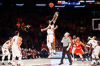 NEW YORK, NY - Sunday December 13, 2015: Syracuse and St. John's tip off.  St. John's defeats Syracuse 84-72 during the NCAA men's basketball regular season at Madison Square Garden in New York City.
