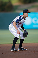Kannapolis Intimidators third baseman Zach Remillard (8) on defense against the Lakewood BlueClaws at Kannapolis Intimidators Stadium on April 7, 2017 in Kannapolis, North Carolina.  The BlueClaws defeated the Intimidators 6-4.  (Brian Westerholt/Four Seam Images)
