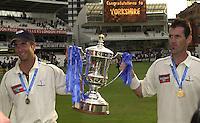 Photo Peter Spurrier.31/08/2002.Cheltenham & Gloucester Trophy Final - Lords.Somerset C.C vs YorkshireC.C..Yorkshire  Micheal Vaughan left and  Matt Elliott