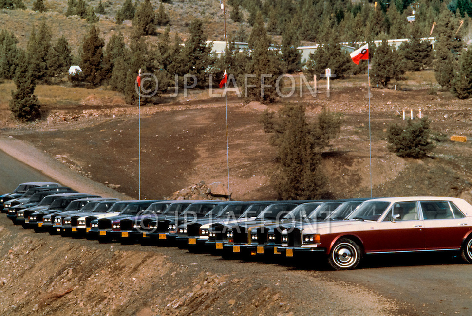 Wasco, Oregon, February 1984: Bhawan Rajneesh (now known as Osho) possessed more than 20 Rolls-Royce cars and never used the same car two days in a row. Rajneeshpuram, was an intentional community in Wasco County, Oregon, briefly incorporated as a city in the 1980s, which was populated with followers of the spiritual teacher Osho, then known as Bhagwan Shree Rajneesh. The community was developed by turning a ranch from an empty rural property into a city complete with typical urban infrastructure, with population of about 7000 followers.