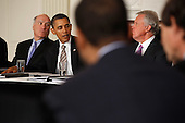 United States President Barack Obama (2nd L) meets with his Council on Jobs and Competitiveness, group of business leaders tapped to come up with job-spurring ideas, including White House Chief of Staff William Daley (L) and General Electric CEO Jeffrey Imelt in the State Dining Room at the White House January 17, 2012 in Washington, DC. Headed by Imelt, the council released a report with suggestions, including investment in education and research and development, support for the manufacturing sector and reform in the tax and regulatory systems. .Credit: Chip Somodevilla / Pool via CNP