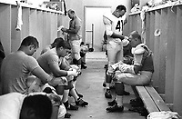 Oakland Raider dressing room in Santa Rosa 1965.<br />