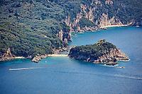 The isthmus of Limni beach at Corfu, Greece