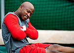 3 July 2009: Washington Nationals' utilityman Willie Harris takes a breather prior to a game against the Atlanta Braves at Nationals Park in Washington, DC. The Braves defeated the Nationals 9-8, to take the first game of the 3-game weekend series. Mandatory Credit: Ed Wolfstein Photo