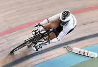 CALI – COLOMBIA – 18-02-2017: Kristina Vogel, de Alemania, en la prueba Velocidad damas, en el Velodromo Alcides Nieto Patiño, sede de la III Valida de la Copa Mundo UCI de Pista de Cali 2017. / Kristina Vogel, of Germany, Women´s Sprint Race at the Alcides Nieto Patiño Velodrome, home of the III Valid of the World Cup UCI de Cali Track 2017. Photo: VizzorImage / Luis Ramirez / Staff.