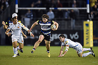 Nick Auterac of Bath Rugby gets past Ian Whitten of Exeter Chiefs. West Country Challenge Cup match, between Bath Rugby and Exeter Chiefs on October 10, 2015 at the Recreation Ground in Bath, England. Photo by: Patrick Khachfe / Onside Images