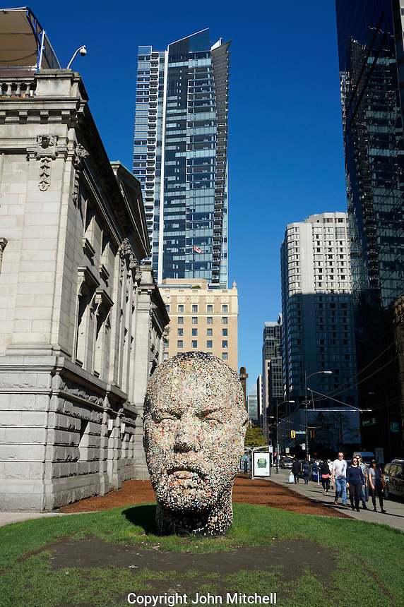 Gumhead sculpture by Douglas Coupland outside the Vancouver Art Gallery, Vancouver, BC, Canada