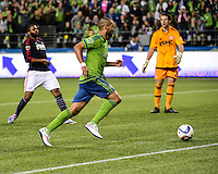 Seattle, Washington - March 8, 2015: Seattle Sounders FC opens the 2015 Major League Soccer season defeating the New England Revolution 3-0 on the Xbox Pitch at CenturyLink Field.