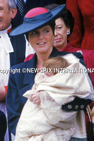 23.12.1990; Sandringham, UK: PRINCESS EUGENIE'S CHRISTENING<br /> 25 years-ago, Princess Eugenie Victoria Helena, the second daughter of Prince Andrew and Sarah, Duchess of York was the last Royal Christening to be held at St Mary Magdalene Church on the Sandringham Estate.<br /> Among the guests on the day was Princess Diana with sons Princes William amd Harry.<br /> Prince William as it turned out left the service with the &quot;baptism candle&quot;.<br /> Mandatory Photo Credit: &copy;Francis Dias/NEWSPIX INTERNATIONA<br /> <br /> **ALL FEES PAYABLE TO: &quot;NEWSPIX INTERNATIONAL&quot;**<br /> <br /> PHOTO CREDIT MANDATORY!!: NEWSPIX INTERNATIONAL(Failure to credit will incur a surcharge of 100% of reproduction fees)<br /> <br /> IMMEDIATE CONFIRMATION OF USAGE REQUIRED:<br /> Newspix International, 31 Chinnery Hill, Bishop's Stortford, ENGLAND CM23 3PS<br /> Tel:+441279 324672  ; Fax: +441279656877<br /> Mobile:  0777568 1153<br /> e-mail: info@newspixinternational.co.uk