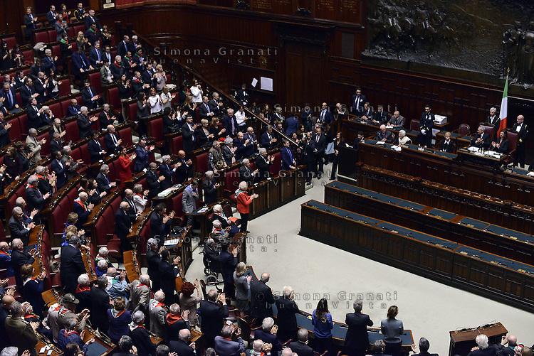 Roma, 16 Aprile 2015<br /> Partigiane e partigiani negli scranni dell'Aula<br /> Celebrazione alla Camera dei deputati del 70&deg; anniversario della liberazione dal nazifascismo.