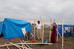 ARBAT, IRAQ: Syrian refugees erect a shelter in the Arbat refugee camp...45 families who have fled the violence in Syria are currently living in the Arbat refugee camp 19km outside the Iraqi city of Sulaimaniyah...Photo by Zmnako Ismael/Metrography