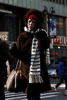 A woman walks by a street as Low temperatures hit New York, United States. 23/01/2013 Photo by Kena Betancur/VIEWpress.