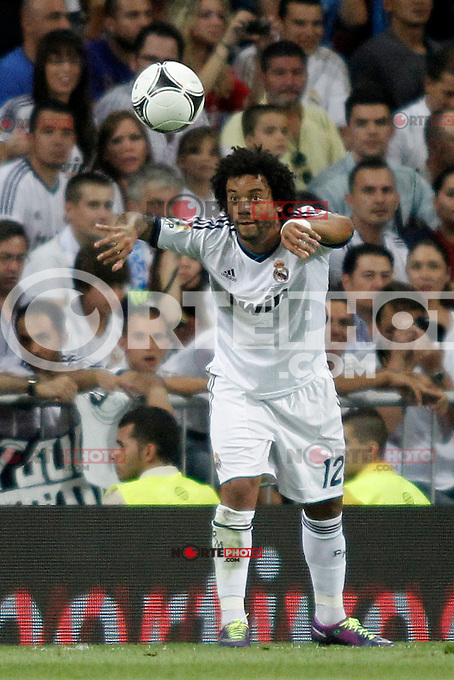 Real Madrid's  Marcelo  during Super Copa of Spain on Agost 29th 2012...Photo:  (ALTERPHOTOS/Ricky) Super Cup match. August 29, 2012. <br />